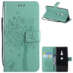 Embossing Butterfly Tree Leather Wallet Case for Sony Xperia XZ3 - Cyan