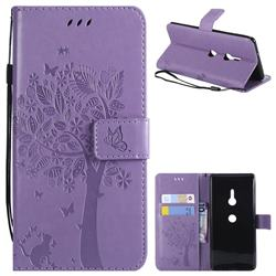 Embossing Butterfly Tree Leather Wallet Case for Sony Xperia XZ3 - Violet
