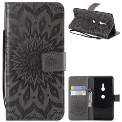 Embossing Sunflower Leather Wallet Case for Sony Xperia XZ3 - Gray