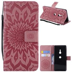Embossing Sunflower Leather Wallet Case for Sony Xperia XZ3 - Pink