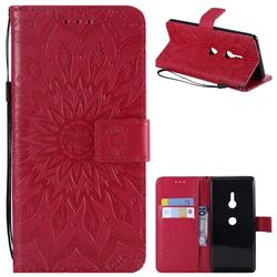 Embossing Sunflower Leather Wallet Case for Sony Xperia XZ3 - Red