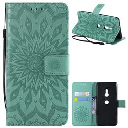 Embossing Sunflower Leather Wallet Case for Sony Xperia XZ3 - Green