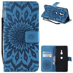 Embossing Sunflower Leather Wallet Case for Sony Xperia XZ3 - Blue