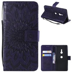 Embossing Sunflower Leather Wallet Case for Sony Xperia XZ3 - Purple