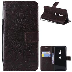 Embossing Sunflower Leather Wallet Case for Sony Xperia XZ3 - Brown