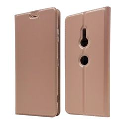 Ultra Slim Card Magnetic Automatic Suction Leather Wallet Case for Sony Xperia XZ3 - Rose Gold