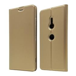 Ultra Slim Card Magnetic Automatic Suction Leather Wallet Case for Sony Xperia XZ3 - Champagne