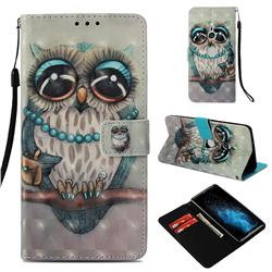 Sweet Gray Owl 3D Painted Leather Wallet Case for Sony Xperia XZ3
