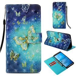Gold Butterfly 3D Painted Leather Wallet Case for Sony Xperia XZ3