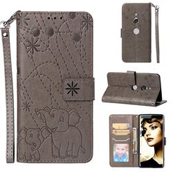 Embossing Fireworks Elephant Leather Wallet Case for Sony Xperia XZ3 - Gray