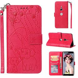 Embossing Fireworks Elephant Leather Wallet Case for Sony Xperia XZ3 - Red