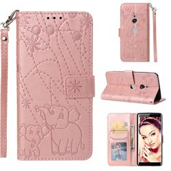 Embossing Fireworks Elephant Leather Wallet Case for Sony Xperia XZ3 - Rose Gold