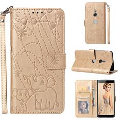 Embossing Fireworks Elephant Leather Wallet Case for Sony Xperia XZ3 - Golden