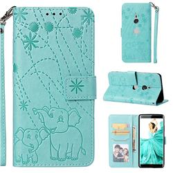 Embossing Fireworks Elephant Leather Wallet Case for Sony Xperia XZ3 - Green