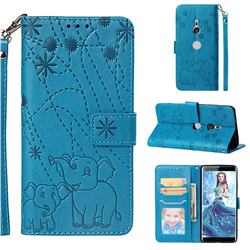 Embossing Fireworks Elephant Leather Wallet Case for Sony Xperia XZ3 - Blue