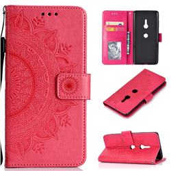 Intricate Embossing Datura Leather Wallet Case for Sony Xperia XZ3 - Rose Red