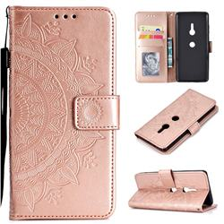 Intricate Embossing Datura Leather Wallet Case for Sony Xperia XZ3 - Rose Gold