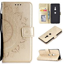 Intricate Embossing Datura Leather Wallet Case for Sony Xperia XZ3 - Golden