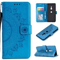 Intricate Embossing Datura Leather Wallet Case for Sony Xperia XZ3 - Blue