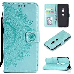 Intricate Embossing Datura Leather Wallet Case for Sony Xperia XZ3 - Mint Green