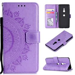 Intricate Embossing Datura Leather Wallet Case for Sony Xperia XZ3 - Purple