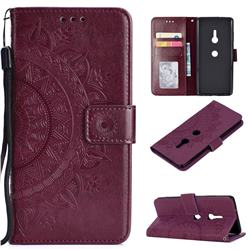 Intricate Embossing Datura Leather Wallet Case for Sony Xperia XZ3 - Brown