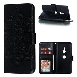 Intricate Embossing Datura Solar Leather Wallet Case for Sony Xperia XZ3 - Black