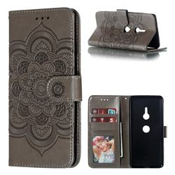Intricate Embossing Datura Solar Leather Wallet Case for Sony Xperia XZ3 - Gray