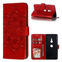 Intricate Embossing Datura Solar Leather Wallet Case for Sony Xperia XZ3 - Red
