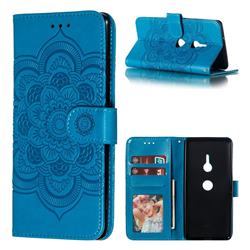 Intricate Embossing Datura Solar Leather Wallet Case for Sony Xperia XZ3 - Blue