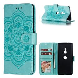 Intricate Embossing Datura Solar Leather Wallet Case for Sony Xperia XZ3 - Green