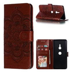Intricate Embossing Datura Solar Leather Wallet Case for Sony Xperia XZ3 - Brown