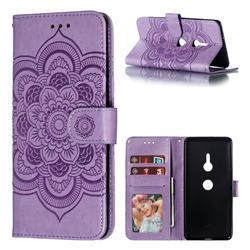 Intricate Embossing Datura Solar Leather Wallet Case for Sony Xperia XZ3 - Purple