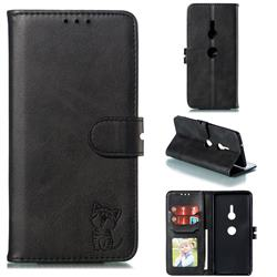 Embossing Happy Cat Leather Wallet Case for Sony Xperia XZ3 - Black
