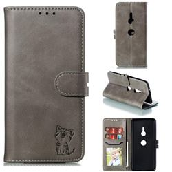 Embossing Happy Cat Leather Wallet Case for Sony Xperia XZ3 - Gray