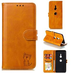 Embossing Happy Cat Leather Wallet Case for Sony Xperia XZ3 - Yellow