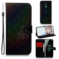 Laser Circle Shining Leather Wallet Phone Case for Sony Xperia XZ3 - Black