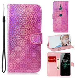 Laser Circle Shining Leather Wallet Phone Case for Sony Xperia XZ3 - Pink