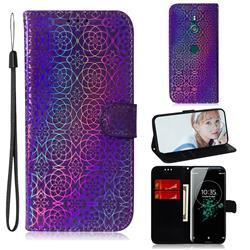 Laser Circle Shining Leather Wallet Phone Case for Sony Xperia XZ3 - Purple