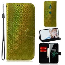 Laser Circle Shining Leather Wallet Phone Case for Sony Xperia XZ3 - Golden