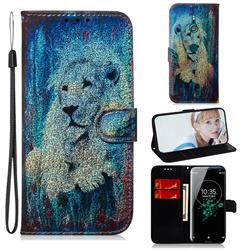 White Lion Laser Shining Leather Wallet Phone Case for Sony Xperia XZ3