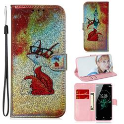 Glasses Fox Laser Shining Leather Wallet Phone Case for Sony Xperia XZ3