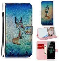 Cute Fox Laser Shining Leather Wallet Phone Case for Sony Xperia XZ3