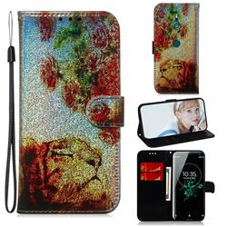 Tiger Rose Laser Shining Leather Wallet Phone Case for Sony Xperia XZ3