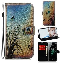 Butterfly Orchid Laser Shining Leather Wallet Phone Case for Sony Xperia XZ3