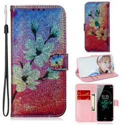 Magnolia Laser Shining Leather Wallet Phone Case for Sony Xperia XZ3