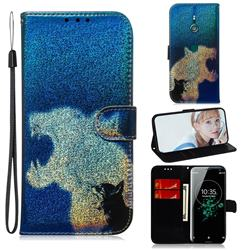 Cat and Leopard Laser Shining Leather Wallet Phone Case for Sony Xperia XZ3