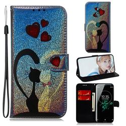 Love Cat Laser Shining Leather Wallet Phone Case for Sony Xperia XZ3