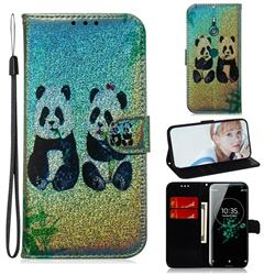 Two Pandas Laser Shining Leather Wallet Phone Case for Sony Xperia XZ3
