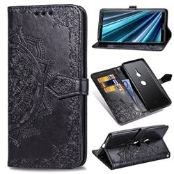 Embossing Imprint Mandala Flower Leather Wallet Case for Sony Xperia XZ3 - Black